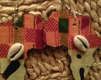 Kente / Mud Cloth Cowrie Africa Earrings