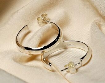Sterling Silver Hoop Post Earrings