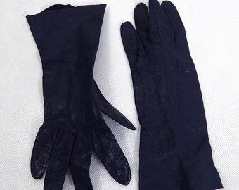 Original Vintage Navy Leather Gloves