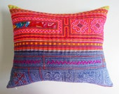 Batik Hmong Pillow Cover - Vibrant Colored Tribal Pillow - Boho Eclectic Home Decor
