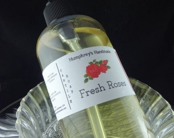FRESH ROSES Body Wash, 8 oz, Women's Rose Soap Scented Organic Castile Soap, Shampoo Hand Soap, Spring Floral Garden Vintage Victorian