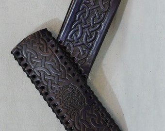 In-Stock Leather Celtic Braid Wand Sheath, Holder, & Holster, for 5/8in Diameter Wand
