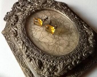 Citrine Earrings Emerald Cut 10 Carat Sterling Silver Fine Jewelry Fabulous Antique 1940's