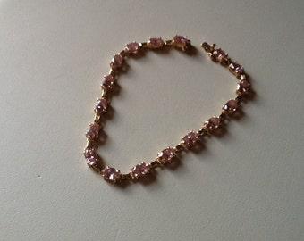 Bracelet 10k Gold Pink Ice Gemstone Beautiful Stones
