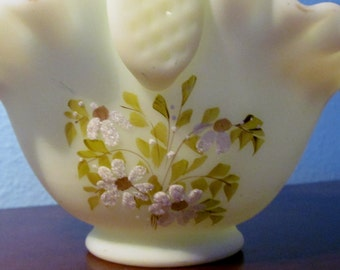 Vintage Fenton Burmese Hand Painted and Sign Basket
