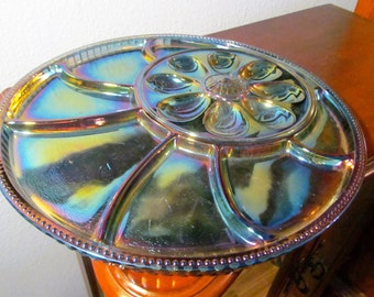 Vintage Carnival Blue Indiana Glass Hors d'Oeuvres Tray