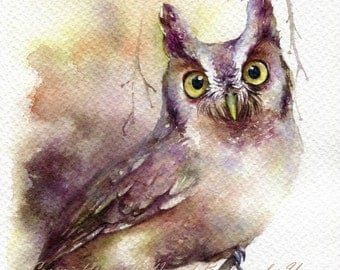 PRINT – Bright Eyed Watercolor painting 7.3 x 11""