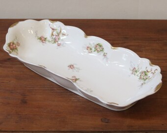 Antique Limoges Long Narrow Porcelain Dish. French C.1890.