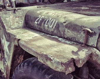 Army Jeep Art Photography Print, Military Jeep, Industrial Decor