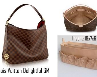 Diaper Purse insert fits Louis Vuitton Delightful GM- Diaper Bag organizer in Sand solid fabric