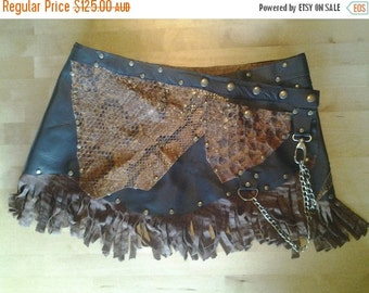 """20%OFF croc and leather skirt/belt with studs,chain and pocket.....36"""" to 44"""" waist or hips.."""