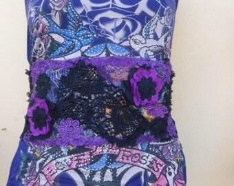 vintage inspired shabby chic gothic cinch obi belt...FREE SHIPPING
