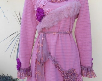 """20% OFF bohemian dress/jumper in dried rose hues with matching collar/headband....medium to 38"""" bust.."""
