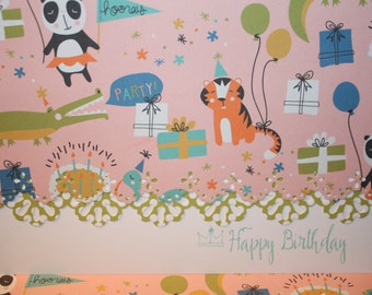 Happy Birthday Panda and friends Note Cards pink background
