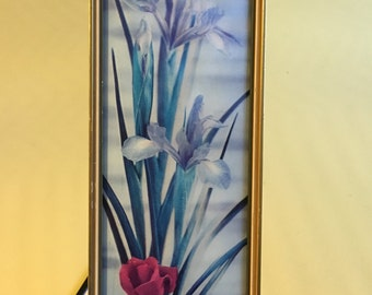 Vintage 3D Hologram Iris and Rose Flower Wall Hanging Picture