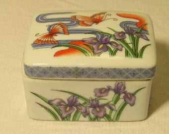Retro Japan Porcelain Jewelry or Trinket Box with painted Flowers and Butterly Design