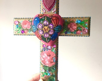 Mexican art shrine with wooden sacred heart by thevirginrose for Mexican arts and crafts for sale