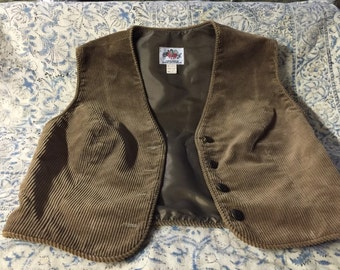 Brown cordoury vest size small  9-10 lanz