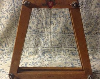 Vintage Wood Tennis racquet Bracket Repurpose Frame Mirror