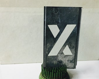 Vintage zinc Stencil Letter X Home Decor Repurpose Alphabet nursery decor
