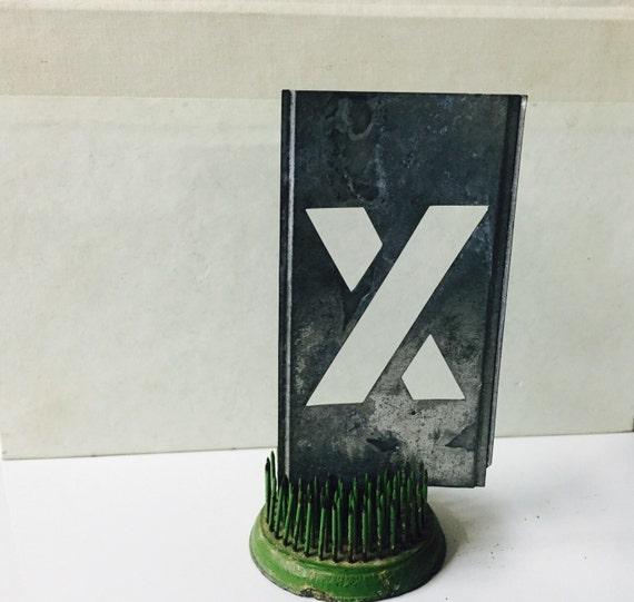 Vintage zinc stencil letter x home decor repurpose alphabet for Decoration zinc