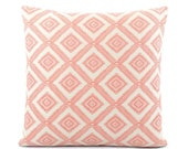 Coral Pillow Cover in Textured Diamond Pattern, Coral Throw Pillow, Accent Pillow, Coral Cushion, Choose Your Size, Pineapple Grove