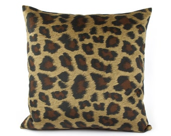 "Leopard Print Pillow Cover 20x20"", Velvet Leopard Pillow, Throw Pillow, Cushion Cover, Black Brown Pillow, Walk on the Wild Side"
