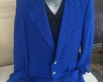 Mens Vintage Blazer. Cashmere Blazer. Blue Blazer. Vintage Cashmere Blazer