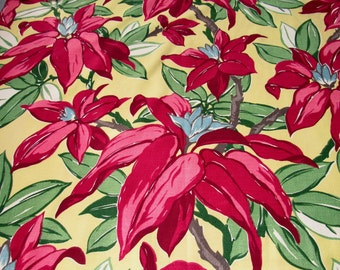 6YDS Wild n CrazyTropicals Floridian Dreams VTG Barkcloth Fabric 30s 40s Raspberry & Jadite on Banana Yellow MCM Retro