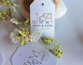 Sets of INITIAL Tags with Gold, Brown and Grey on SHIMMER white cardstock