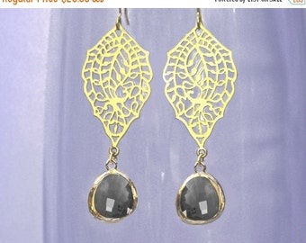 15 OFF. chandelier Filigree paisley earrings. Gold earrings with framed and faceted charcoal grey drop