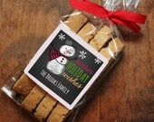 24 Personalized Holiday Cellophane Bags - Snowman Design - candy bags, cookie bags, holiday party favors, gift bags, goodie bags