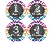 Baby Month Stickers, Monthly Baby Stickers, Monthly Photo Stickers, Girls First Year Photo Props, Baby Shower Gift, Chevron (G242)