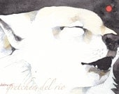 WHITE WOLF greeting card watercolor SPIRIT totem animal 'Snow Moon' blank howling
