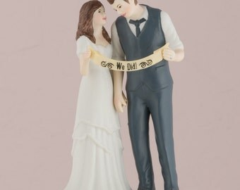 Customized Indie Style Wedding Cake Topper Trendy Bride Groom Couple Personalized Custom Hair Retro Vintage Hipster Text Banner Blue Vest