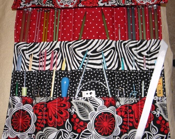 Knitting Needle Case, Knitting Needle Roll, Crochet Needle Case, 30 Pockets, Ready to Ship