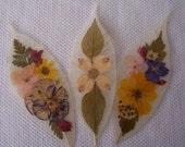 Pressed flowers on leaf skeletons book marks, set of 3. Set 037.