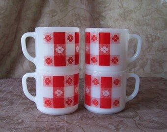 Vintage set of 4 Federal milk glass red gingham check stacking mugs.  CF-295-304-308-5