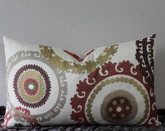 "SALE-SET of TWO- Suzani Taraz Woven Tapestry in Teak - Dark Brown,Brick Red,Gold,Celedon and Beige - 12"" x 20"" Lumbar Designer Pillow Covers"