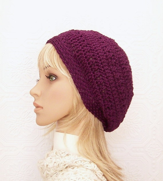Crochet beanie, women's winter hat, dark grape color, winter accessories, gift for her, handmade Sandy Coastal Designs, ready to ship