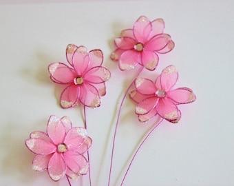 Pink Nylon Flowers Rhineston and Stems / Daisy / Bridal / Weddings / Baby Shower Girl / Glitter