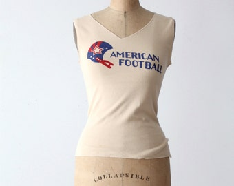 FREE SHIP  vintage American Football t-shirt, red white and blue tank top