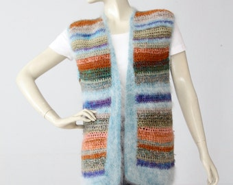 vintage striped angora sweater vest, 70s boho knit top