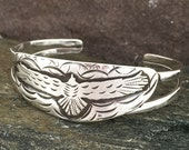 Thunderbird cuff bracelet, Heavy sterling silver, size small, flying bird, overlay, handcrafted, metalsmith made, Made in NH, eagle bracelet