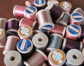 Vintage 60's Traditional Wooden Spools of Thread - 40 spools - NOS - Supplies - Sewing - Crafts - Notions - Corticelli Thread