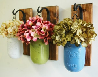 Jars Rustic Decor Painted Mason Jars Farmhouse Decor Kitchen Decor