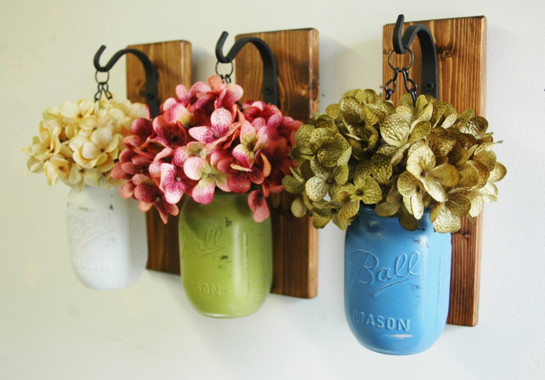 Wall decor-Individual Hanging Painted Mason Jars rustic