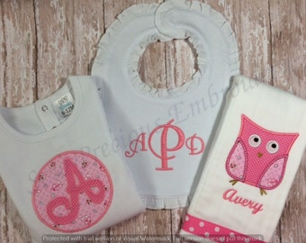 Personalized Bodysuit, Ruffled Bib and Burp Cloth with Owl Applique Embroidery Design for Baby Girl/Gift Set