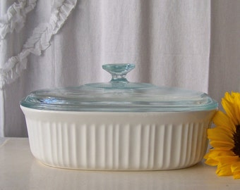 Vintage Corning Ware French White Casserole Dish Covered Classic White Oval Corning Ware Vintage 1980s