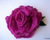 Handfelted purple pink felted wool Rose Brooch
